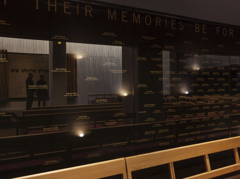The memorial wall has LED lights with names beneath commemorating the deceased. (Courtesy)