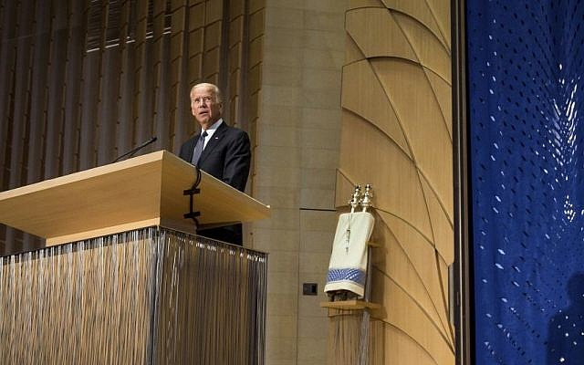 Vice President Joe Biden speaks during a memorial service for former Israel prime minister Shimon Peres at Adas Israel Congregation in Washington, Thursday, Oct, 6, 2016. (Zach Gibson/AP)
