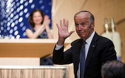 Vice President Joe Biden waves after speaking at a memorial service for former Israeli president an d prime minister Shimon Peres at the Adas Israel Congregation in Washington DC, Thursday, Oct. 6, 2016. (Zach Gibson/AP)