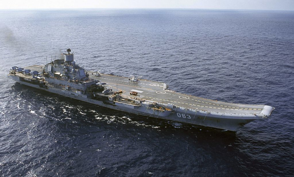 In this 2004 file photo, Russian aircraft carrier Admiral Kuznetsov is seen in the Barents Sea. (AP Photo, File)