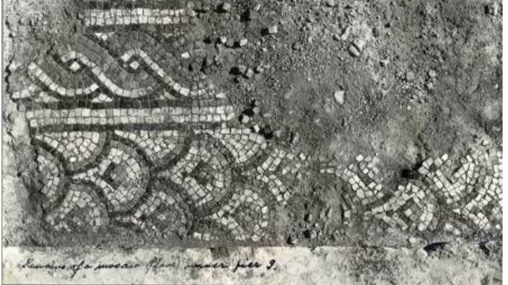 Image of a Byzantine-period mosaic uncovered under the Umayyad level of the Dome of the Rock, taken in 1937 by R.K. Hamilton, head of the British Mandate Antiquities Department. (Israel Antiquities Authority archives)