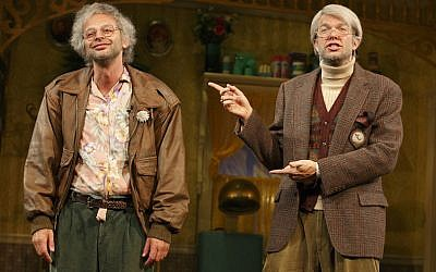 "Nick Kroll, left, and John Mulaney starring in ""Oh, Hello on Broadway."" (Joan Marcus/JTA)"
