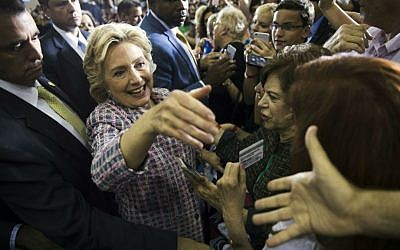 Democratic presidential candidate Hillary Clinton meets with audience members during a campaign stop in Coral Springs, Florida, Friday, Sept. 30, 2016. (AP Photo/Matt Rourke)