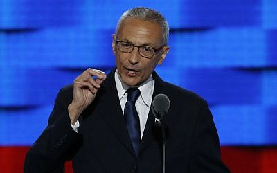Clinton campaign chairman John Podesta speaks during the first day of the Democratic National Convention in Philadelphia, Pennsylvania on July 25, 2016. (AP Photo/J. Scott Applewhite, File)