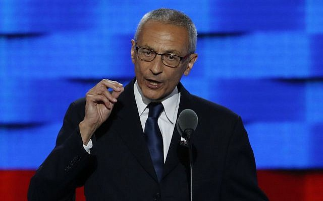 Illustrative: John Podesta, Clinton Campaign chairman, speaks during the first day of the Democratic National Convention in Philadelphia, Pennsylvania, July 25, 2016. (AP Photo/J. Scott Applewhite, File)