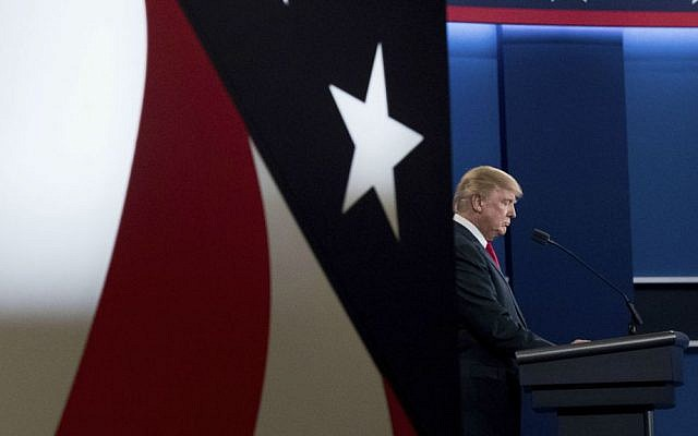 Republican presidential candidate Donald Trump takes the stage for the third presidential debate at the University of Nevada in Las Vegas, Wednesday, Oct. 19, 2016. (AP Photo/Andrew Harnik)