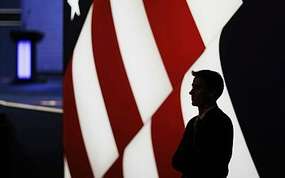 A security officer stands by the stage for the third presidential debate between Democratic presidential nominee Hillary Clinton and Republican presidential nominee Donald Trump at UNLV in Las Vegas, Wednesday, Oct. 19, 2016. (AP Photo/David Goldman)