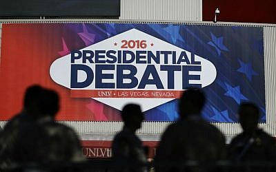 Police officers stand outside the Thomas & Mack Center ahead of the third presidential debate between Democratic presidential nominee Hillary Clinton and Republican presidential nominee Donald Trump at UNLV in Las Vegas, Wednesday, Oct. 19, 2016. (AP Photo/David Goldman)
