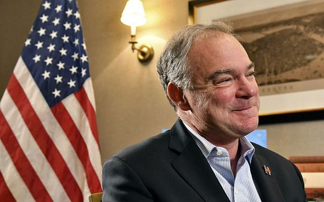 Democratic vice presidential candidate Sen. Tim Kaine, D-Virginia, speaks to The Associated Press during an interview in Boston, Saturday, Oct. 22, 2016. (AP Photo/Josh Reynolds)