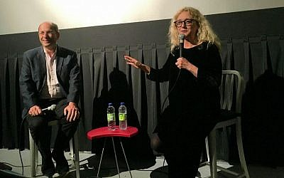 Actress Carol Kane and film professor Brian Rose at Manhattan's Film Forum after a rare 35mm projection of her star-making 1974 independent film 'Hester Street,' on October 4, 2016. (Jordan Hoffman/The Times of Israel)