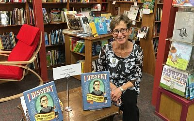 Debbie Levy at the launch of her children's biography on Ruth Bader Ginsburg, 'I Dissent.' (Courtesy Debbie Levy)
