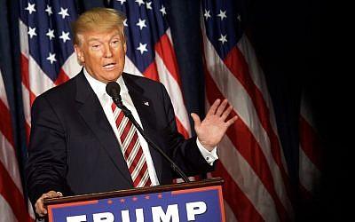 Donald Trump delivering a speech in Philadelphia, Pennsylvania, Sept. 7, 2016. (JTA/Mark Makela/Getty Images)