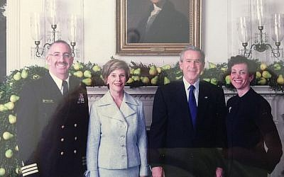 Irving Elson and his wife Fran pose with President George Bush and First Lady Laura Bush. (Courtesy)