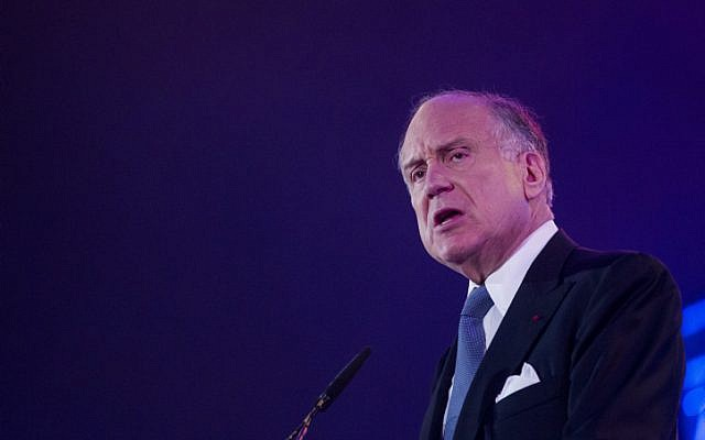 World Jewish Congress President Ron Lauder on October 13, 2014. (Miriam Alster/ Flash90/ File)