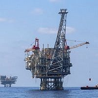 Illustrative. Israeli natural gas rigs in the Mediterranean Sea, September 2, 2015. (Flash90)