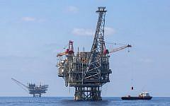 Illustrative photo of Israeli natural gas rigs in the Mediterranean Sea, September 2, 2015. (Flash90)