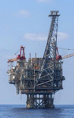 Israeli natural gas rigs in the Mediterranean Sea, September 2, 2015. (Flash90)