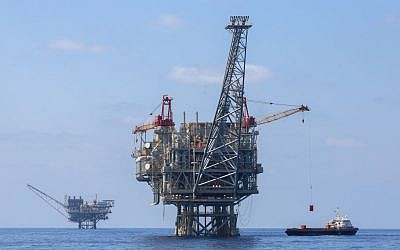 Illustrative photo of Israeli natural gas rigs in the Mediterranean Sea, September 2, 2015. (Flash90)