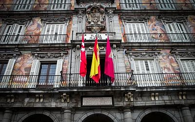 The painted façades of the Casa de la Panadería on Plaza Mayor, in Madrid, capital of Spain. February 13, 2016. (Isaac Harari/FLASH90)