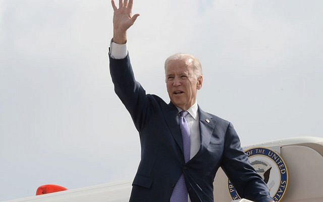 Illustrative: United States Vice President Joe Biden seen waving as he boards his plane after after 2 days visit to Israel and the Palestinian Territories. (Photo by Matty Stern/US Embassy of Tel Aviv)