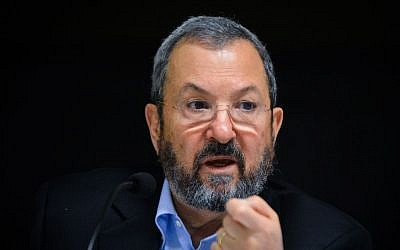 Former prime minister Ehud Barak at the launch event of the defense news Reporty App in Tel Aviv, March 16, 2016. (Flash90)