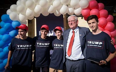 Marc Zell, the head of Republicans Overseas Israel, at the opening of the campaign supporting Donald Trump in Modi'in, August 15, 2016. (Joe Davids/Flash90)
