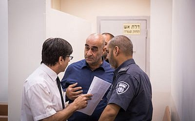Head of the regional council of the Arab town of Julis, Salman Amar, seen at the Rishon Leztion court after shooting to death a gardening contractor outsite the city council, on September 6, 2016. (Nati Shohat/Flash90)