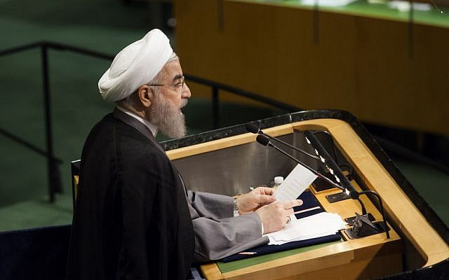 The president of the Islamic Republic of Iran, Hassan Rouhani, addresses the 71st UN general assembly debate at the UN headquarters in New York City, on September 22, 2016.  (Amir Levy/FLASH90)