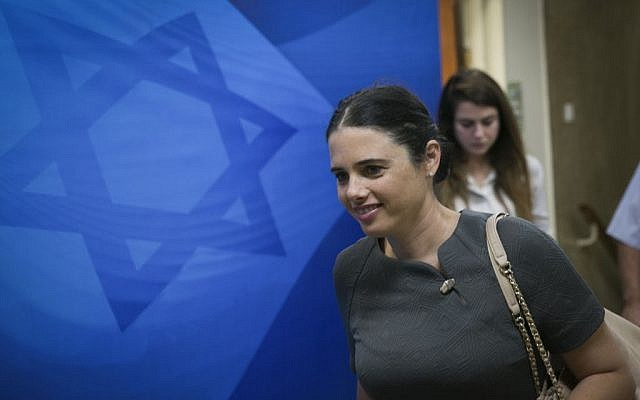 Justice Minister Ayelet Shaked arrives for the weekly cabinet meeting at the Prime Ministers Office in Jerusalem, October 30, 2016. (Ohad Zwigenberg)