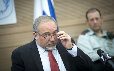 Defense Minister Avigdor Liberman speaks at a meeting of the Foreign Affairs and Defense Committee at the Knesset, on October 31, 2016. (Miriam Alster/Flash90)