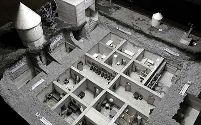 A model of the bunker of Adolf Hitler is displayed in a high-rise bunker, not the original so called 'Fuehrer's-Bunker', in Berlin, Germany, Thursday, Oct. 27, 2016. (AP/Michael Sohn)