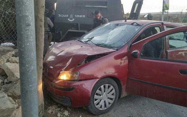 Illustrative: A car used in a West Bank car-ramming near Beit Ummar on October 30, 2016. (police spokesperson)