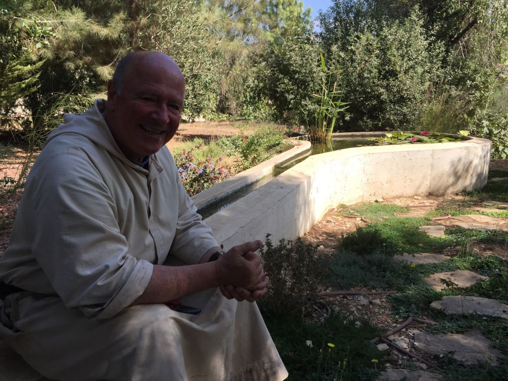 Brother Olivier, an unlikely Israeli citizen, is a monk living in an ancient church in the town of Abu Ghosh, and has made the annual festival part of his efforts toward coexistence (Jessica Steinberg/Times of Israel)