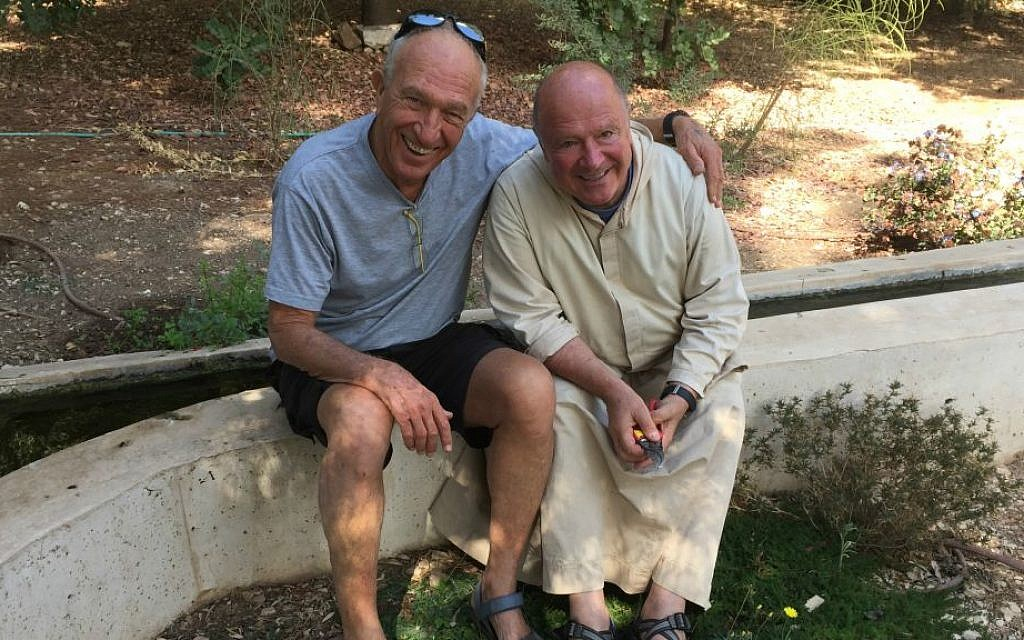 Gershon Cohen and Brother Olivier, the unlikely partners and friends whose mutual understanding has allowed the annual Abu Ghosh Festival to happen each year (Jessica Steinberg/Times of Israel)