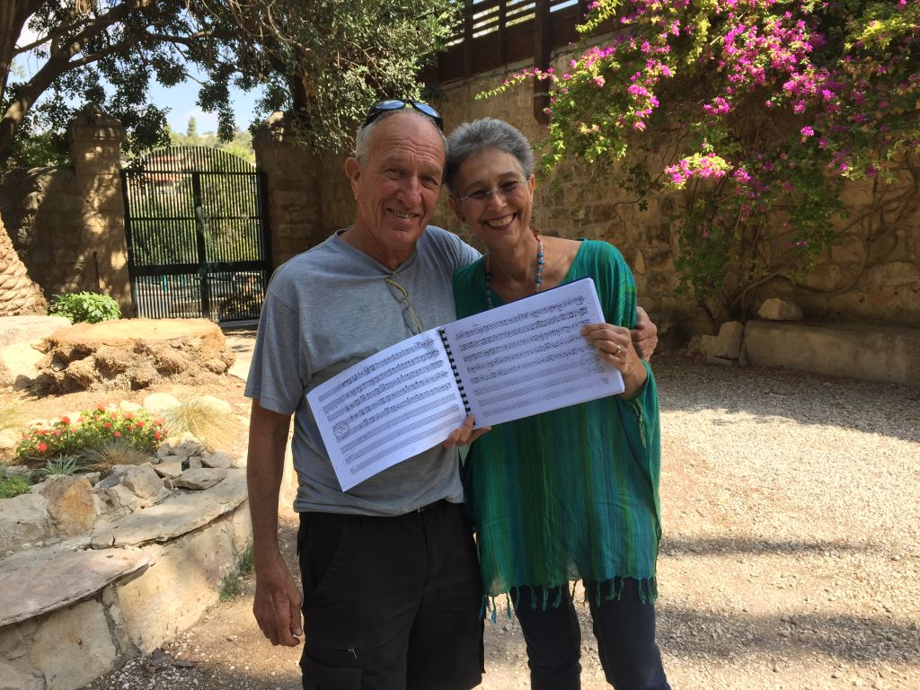 Gershon Cohen and Myrna Herzog, planning the production of Nabucco, part of the 25th Abu Ghosh Music Festival beginning October 21, 2106 (Jessica Steinberg/Times of Israel)
