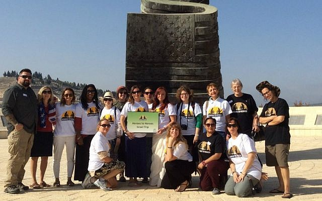 Heroes to Heroes women's trip at the 9/11 Living Memorial Plaza, Jerusalem , August 2016 (Courtesy)