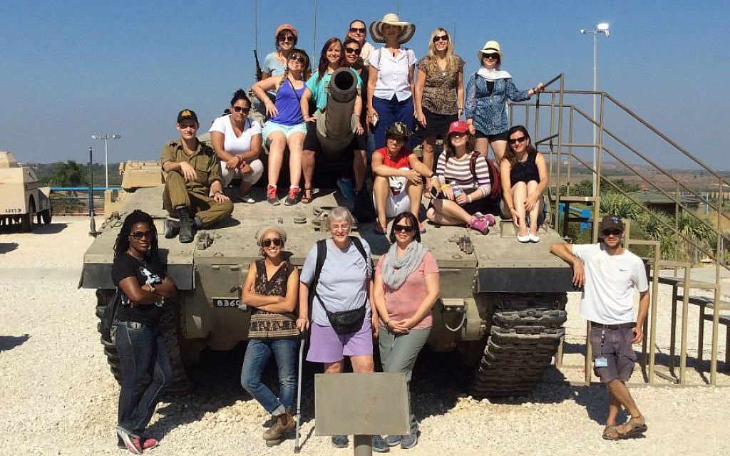 Heroes to Heroes women's trip participants at Latrun Tank Museum, August 2016 (Courtesy)