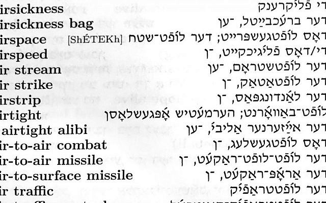 Detail from a page from the 'Comprehensive English-Yiddish Dictionary' (The Jewish Standard)