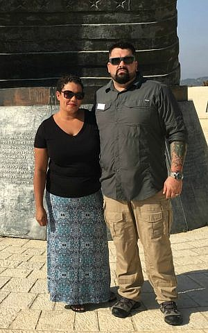 Bibiana Narcissa with her brother Anthony Webster at the 9/11 Living Memorial Plaza, Jerusalem, August 2016 (Courtesy)