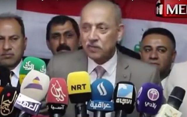 Iraqi transport minister Kazem Finjan. (Screenshot)