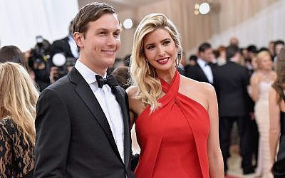 Jared Kushner and wife, Ivanka Trump, attending the 'Manus x Machina: Fashion in an Age of Technology' Costume Institute Gala at the Metropolitan Museum of Art in New York City, May 2, 2016. (Mike Coppola/Getty Images for People.com, via JTA)