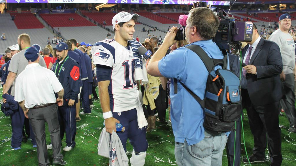 04e4a32b8c3 A reporter uses LiveU technology at the Super Bowl in 2015 (Courtesy)