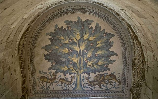 A Tree Of Life mosaic is shown at the site of a 7th century, 827-square-meter (8,900 square ft) mosaic ahead of the opening ceremony at the Islamic archaeological site of Hisham Palace, in the West Bank city of Jericho, Thursday, Oct. 20, 2016. (AP Photo/Nasser Nasser)