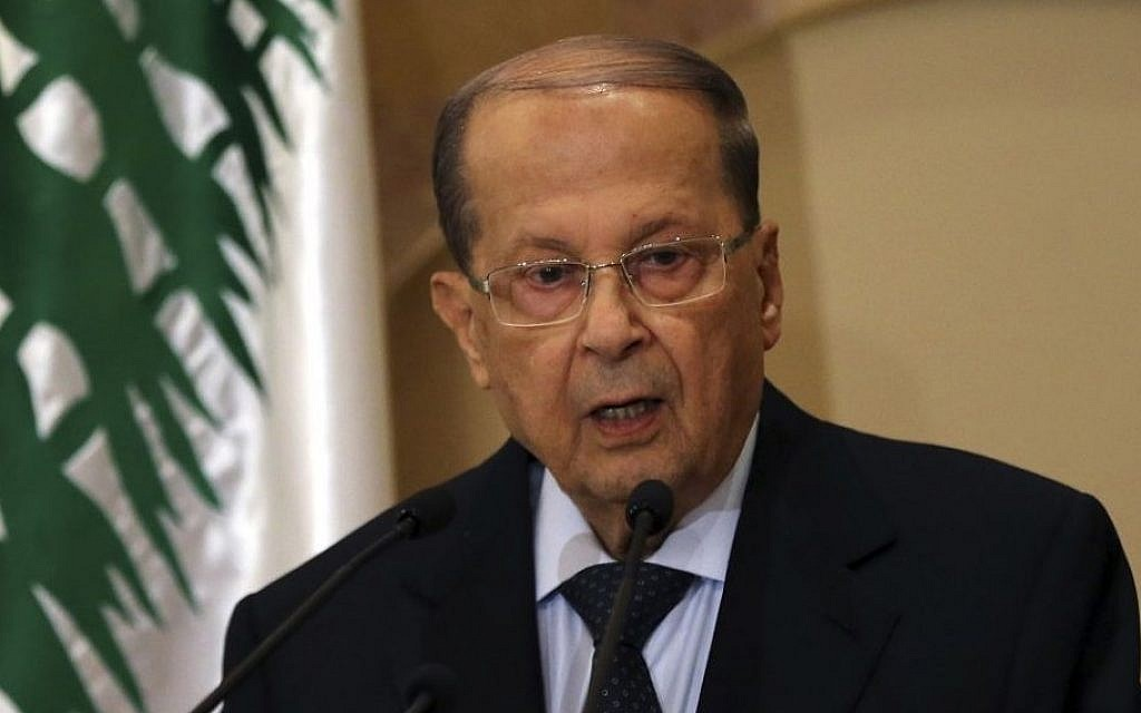 Michel Aoun speaks to journalists on October 20, 2016. (AP Photo/Hussein Malla)