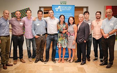 Members of the recent AlmaLinks tour to Israel at an event in Tel Aviv (Courtesy)