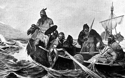 A black-and-white reproduction of a painting showing Norsemen in a ship landing in Iceland. (Wikipedia/Oscar Wergeland/public domain)