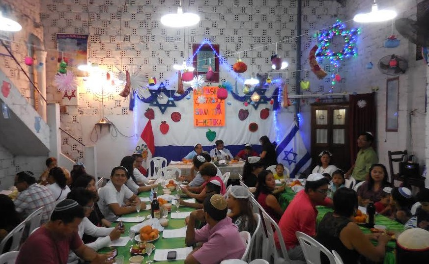 The community gathers for holiday dinner this past Rosh Hashanah. (Facebook)