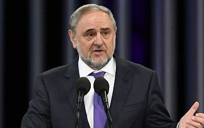 World Jewish Congress CEO Robert Singer delivers a speech at the memorial event commemorating the 75th anniversary of the 1941 Nazi mass murder of Kiev's Jews in the Babi Yar ravine on September 27, 2016. (Shahar Azran / WJC)