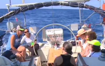 Women activists aboard a sailboat en route to Gaza which was intercepted Wednesday, October 5, 2016 by the Israeli Navy. (Al Jazeera screenshot)