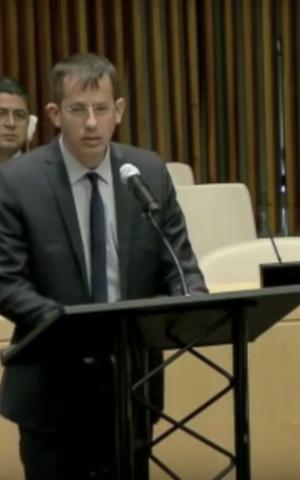B'Tselem director Hagai El-Ad speaks to the UN Security Council on October 14, 2016 (YouTube screenshot)